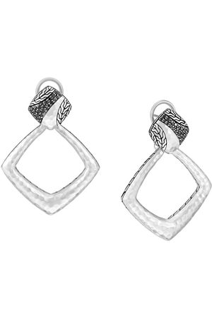 John Hardy Classic Chain hammered square drop earrings