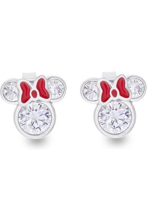 Disney Minnie Mouse Sterling Silver And Red Bow Crystal Stud Earrings