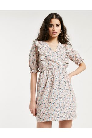 Miss Selfridge Fit and flare poplin dress with frill detail in ditsy floral