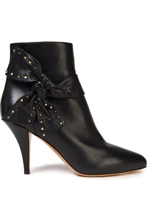 VALENTINO GARAVANI Women Ankle Boots - Woman Studded Bow-embellished Leather Ankle Boots Size 36