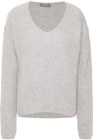 N.PEAL Women Jumpers - Woman Pointelle-trimmed Mélange Ribbed Cashmere Sweater Stone Size M