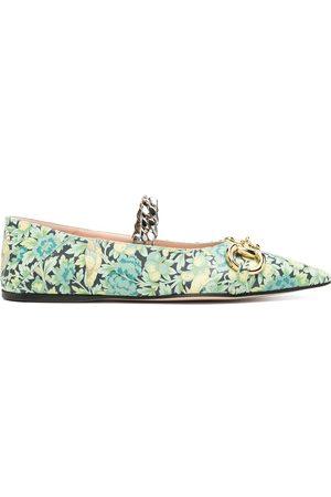 Gucci Women Ballerinas - Floral Horsebit ballerina shoes