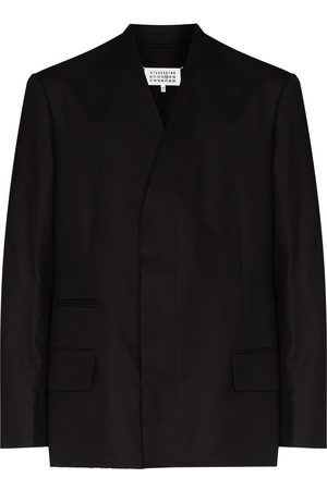 Maison Margiela Collarless single-breasted linen blazer