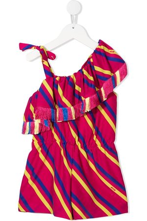 MSGM Kids Girls Casual Dresses - One-shoulder striped dress