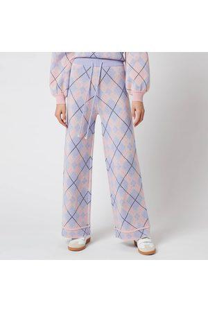 Olivia Rubin Women Wide Leg Trousers - Women's Isobel Knitted Wide Leg Check Trousers