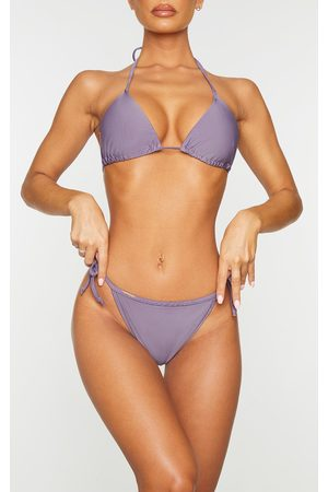 PRETTYLITTLETHING Women Bikinis - Aubergine Mix & Match Tie Side Bikini Bottoms