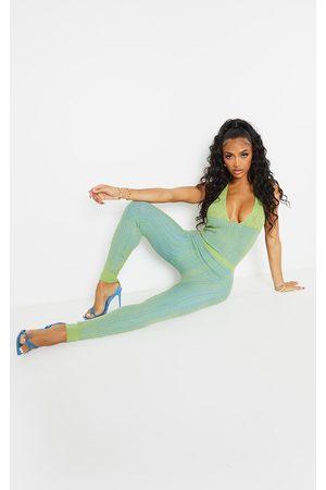 PrettyLittleThing Women Jumpsuits - Shape Lime Knit Underbust Detail Halterneck Jumpsuit