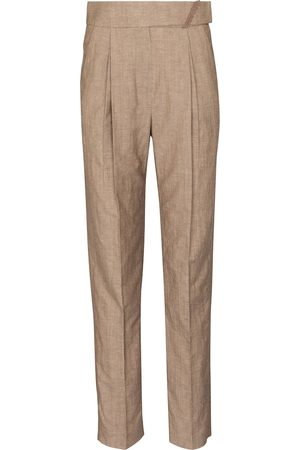 Brunello Cucinelli High-rise straight wool and linen pants