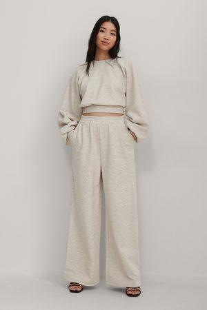 NA-KD Organic Elastic Waist Wide Sweatpants - Beige