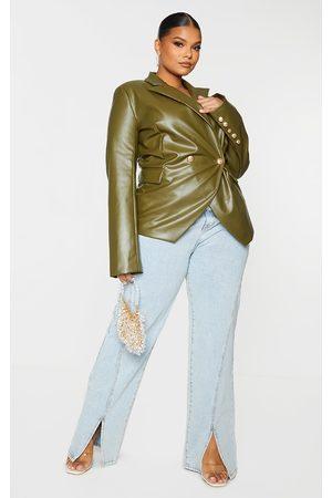 PRETTYLITTLETHING Plus Khaki PU Double Breasted Blazer