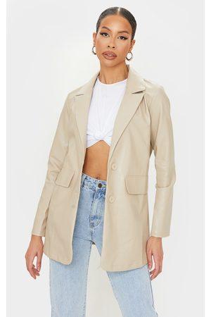 PrettyLittleThing Tall Stone Oversized Button PU Blazer