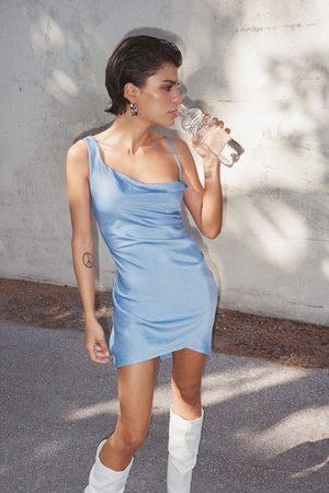 Nasty Gal Women Skirts - Womens Cowl Time Asymmetric Satin Mini Dress - - 4