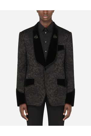 Dolce & Gabbana Coats and Blazers - STRETCH JACQUARD CASINÒ-FIT TUXEDO JACKET WITH PATCH male 46
