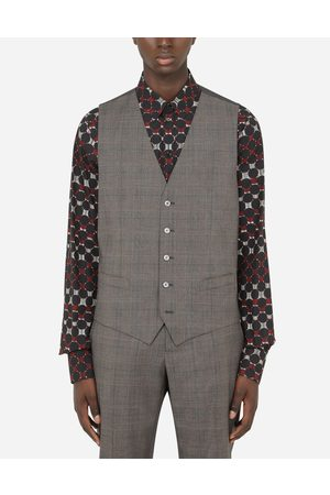 Dolce & Gabbana Coats and Blazers - WOOL GLEN PLAID VEST male 48