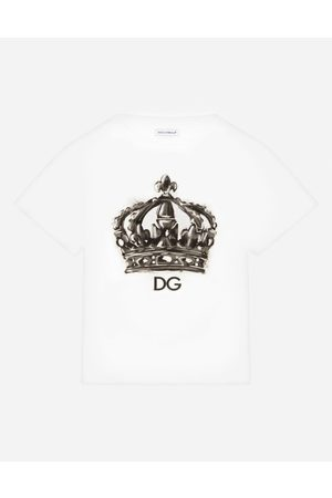 Dolce & Gabbana Boys Polo Shirts - T-Shirts and Polo - JERSEY T-SHIRT WITH DG CROWN PRINT male 8