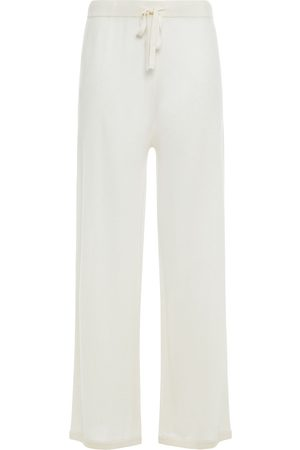 N.PEAL Women Wide Leg Trousers - Woman Cashmere And Silk-blend Wide-leg Pants Ivory Size S