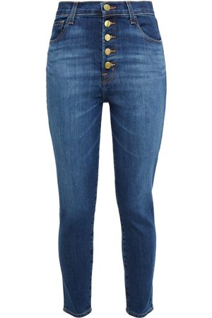 J BRAND Women Skinny - Woman Lillie Faded High-rise Skinny Jeans Mid Denim Size 27