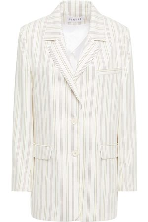 Claudie Pierlot Woman Striped Twill Blazer Ivory Size 34
