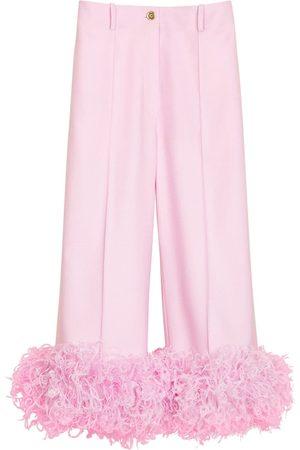 PATOU Eco Wool Cropped Pants W/ Feather Trim
