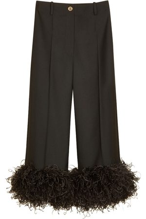 PATOU Eco Wool Cropped Pants W/ Feather Trim