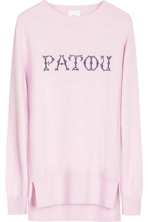 PATOU Intarsia Logo Wool Crewneck Sweater