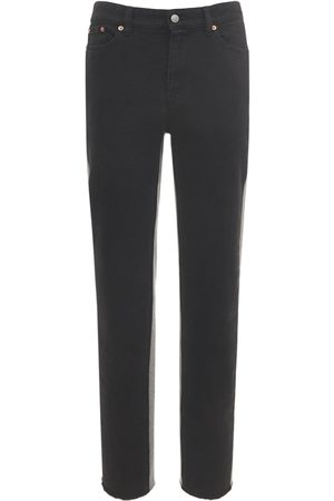 MM6 MAISON MARGIELA High Waist Slim Denim & Fleece Jeans