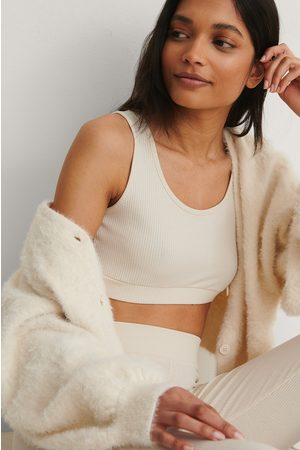 NA-KD Women Crop Tops - Recycled Ribbed Cropped Top - Beige