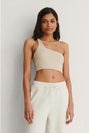 Trendyol Women Crop Tops - One Shoulder Crop Top - Beige