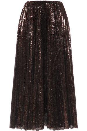 Ralph Lauren Women Midi Skirts - Pleated Sequined Tulle Midi Skirt