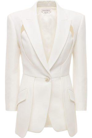 Alexander McQueen Women Blazers - Viscose Blend Crepe Cutout Blazer