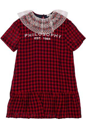Serafini Logo Print Gingham Dress W/ Tulle Ruffle