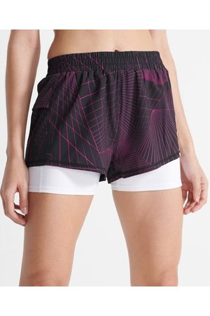 Superdry Women Shorts - Sport Running Double Layer Shorts