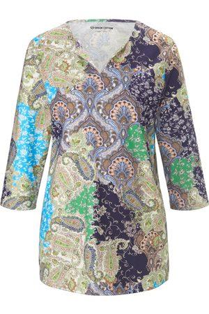 Green Cotton Women Tops - Split neck top in 100% cotton size: 12