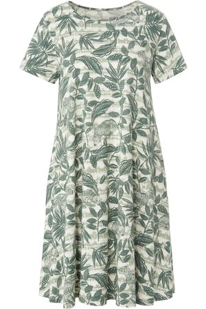 Green Cotton Women Casual Dresses - Short-sleeved jersey dress in 100% cotton size: 10