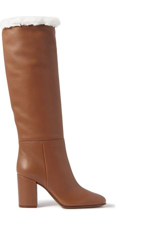 Gianvito Rossi Woman 85 Faux Shearling-lined Leather Knee Boots Tan Size 35