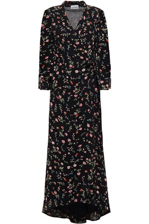 Ganni Woman The Ellie Leopard-print Crepe Midi Wrap Dress Size 32