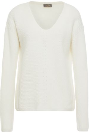 N.PEAL Woman Pointelle-trimmed Mélange Ribbed Cashmere Sweater Ivory Size S