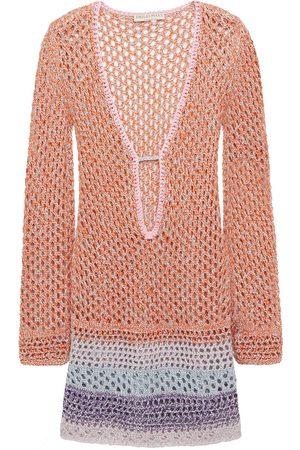 Emilio Pucci Woman Crochet-trimmed Metallic Open-knit Cotton-blend Coverup Size M