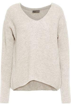 N.PEAL Woman Pointelle-trimmed Mélange Ribbed Cashmere Sweater Ecru Size S