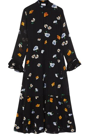 GANNI Woman The Rory Gathered Floral-print Chiffon Midi Dress Size 32
