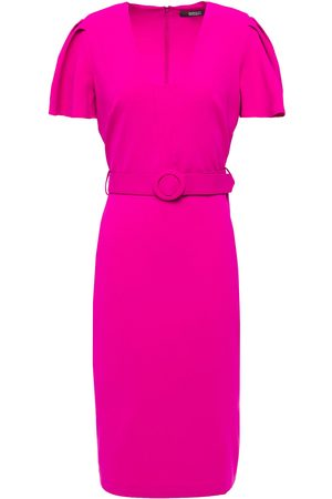 Badgley Mischka Woman Belted Crepe Dress Fuchsia Size 10