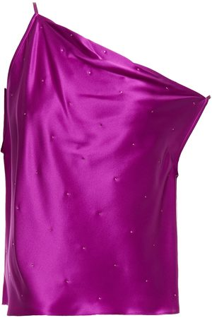 Michelle Mason Woman Off-the-shoulder Draped Silk-charmeuse Top Magenta Size 0