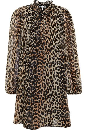 Ganni Woman Ruffled Leopard-print Plisse-crepe Mini Dress Animal Print Size 32