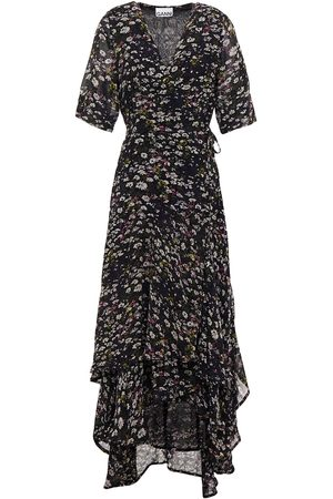 GANNI Woman The Pav Asymmetric Floral-print Chiffon Midi Wrap Dress Size 34
