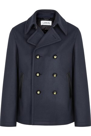 Lanvin Men Peacoats - Navy Double-breasted Wool Peacoat