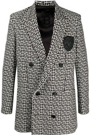 Balmain Monogram-print blazer - Neutrals