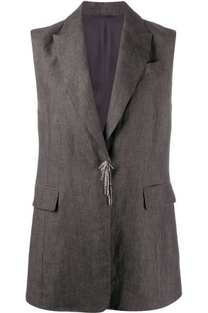Brunello Cucinelli Bead-detail sleeveless jacket