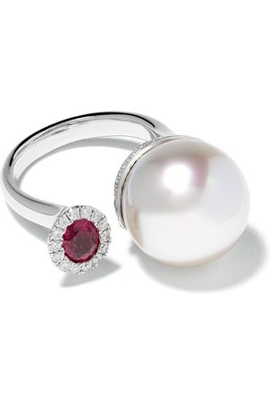 Yoko London 18kt white gold Belgravia South Sea pearl, diamond and ruby ring - 7