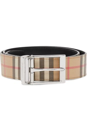 Burberry Reversible check leather belt - Neutrals