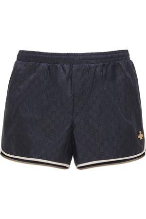 Gucci Men Swim Shorts - Gg Nylon Swim Short W/bee Patch